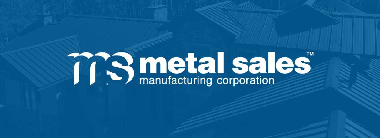 A metal roof with a blue overlay and the Metal Sales logo in white.
