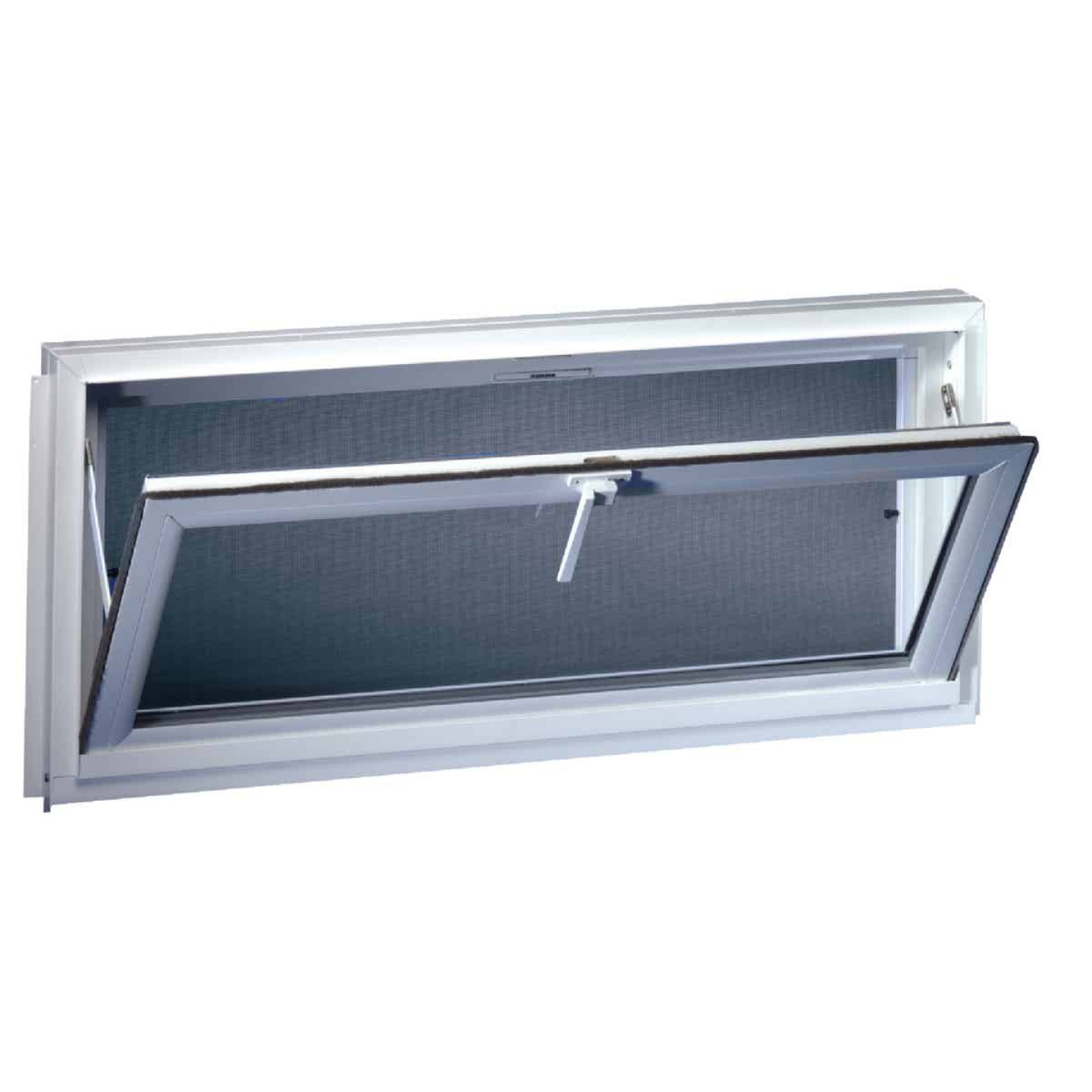 Northview Hemlock Hopper 32 In. W x 15-1/4 In. H White PVC Basement Window Image 1