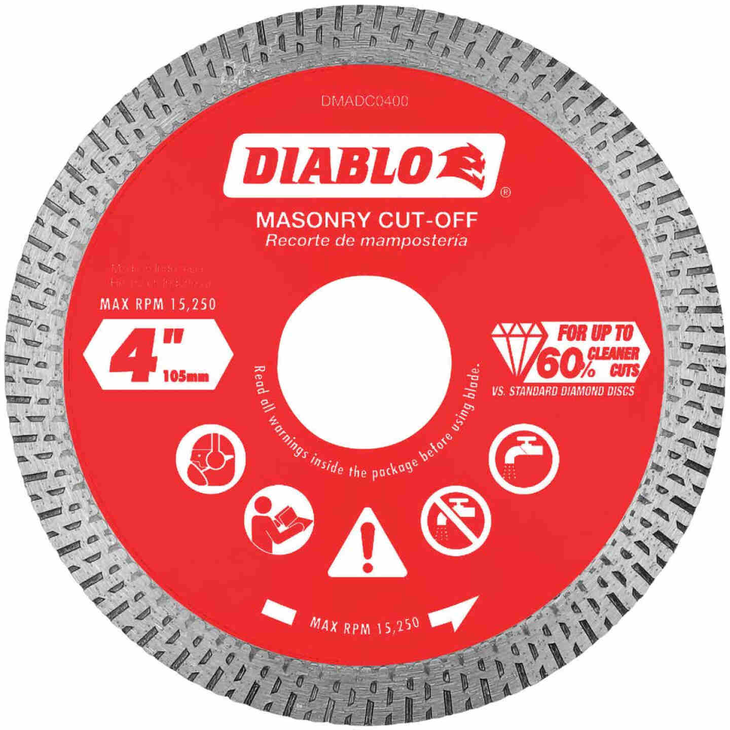 Diablo 4 In. Diamond Continuous Rim Dry/Wet Cut Diamond Blade Image 1
