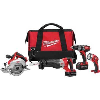 Milwaukee 4-Tool M18 Lithium-Ion Hammer Drill, Reciprocating Saw, Circular Saw & Work Light Cordless Tool Combo Kit