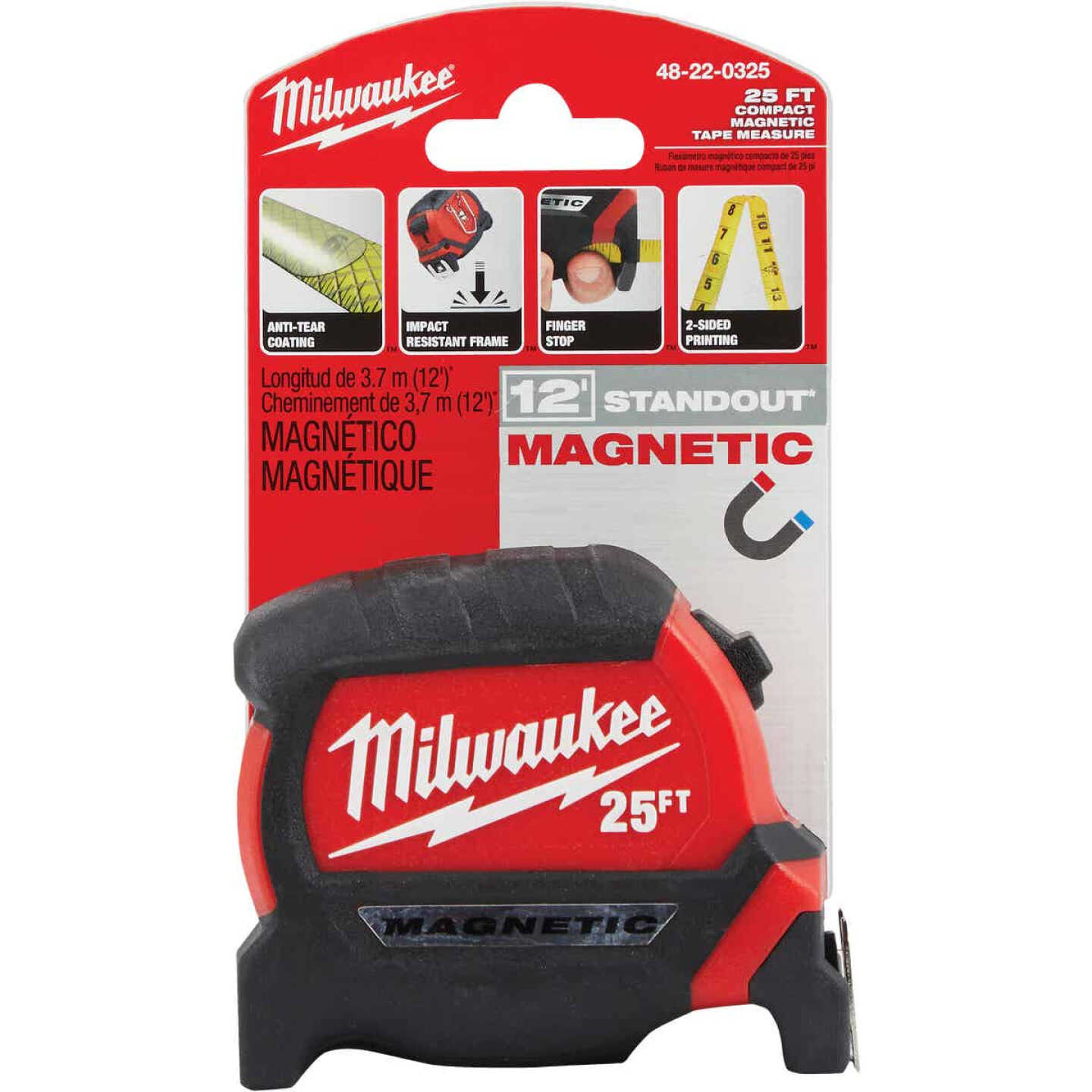 Milwaukee 25 Ft. Compact Wide Blade Magnetic Tape Measure Image 2