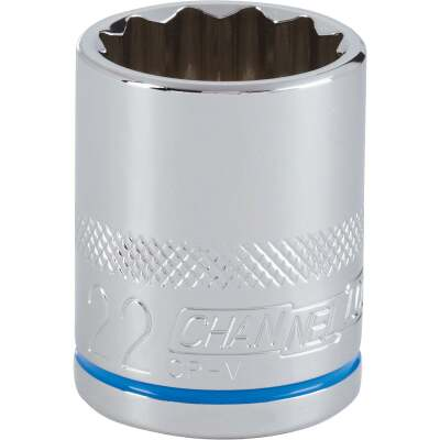 Channellock 1/2 In. Drive 22 mm 12-Point Shallow Metric Socket