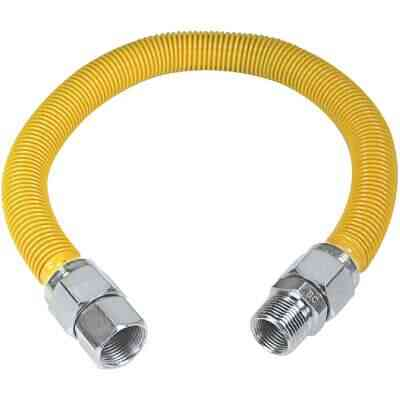 Dormont 1 In. OD x 24 In. Coated Stainless Steel Gas Connector, 3/4 In. FIP x 3/4 In. MIP (Tapped 1/2 In. FIP)