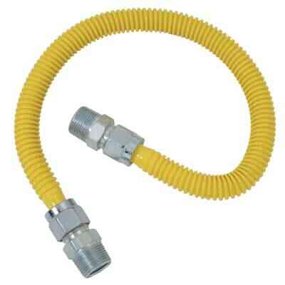 Dormont 5/8 In. OD x 36 In. Coated Stainless Steel Gas Connector, 3/4 In. MIP x 1/2 In. MIP (Tapped 3/8 In. FIP)