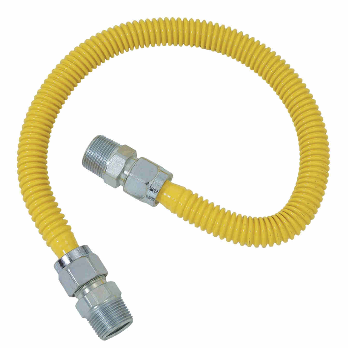 Dormont 5/8 In. OD x 48 In. Coated Stainless Steel Gas Connector, 3/4 In. MIP x 1/2 In. MIP (Tapped 3/8 In. FIP) Image 1