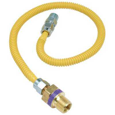 Dormont 3/8 In. OD x 36 In. Coated Stainless Steel Gas Connector, 3/8 In. MIP (Tapped 1/4 In. FIP) x 1/2 In. MIP SmartSense