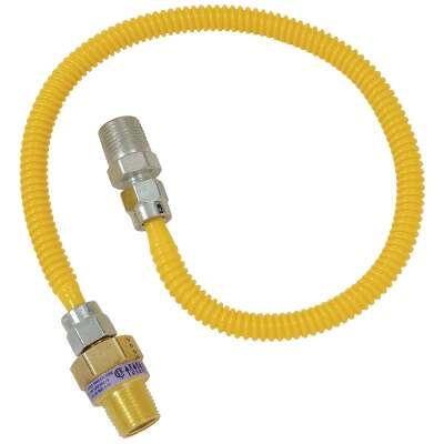 Dormont 3/8 In. OD x 24 In. Coated Stainless Steel Gas Connector, 1/2 In. MIP (Tapped 3/8 In. FIP) x 1/2 In. MIP SmartSense
