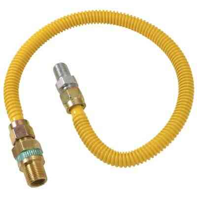 Dormont 1/2 In. OD x 18 In. Coated Stainless Steel Gas Connector, 1/2 In. MIP (Tapped 3/8 In. FIP) x 1/2 In. MIP SmartSense
