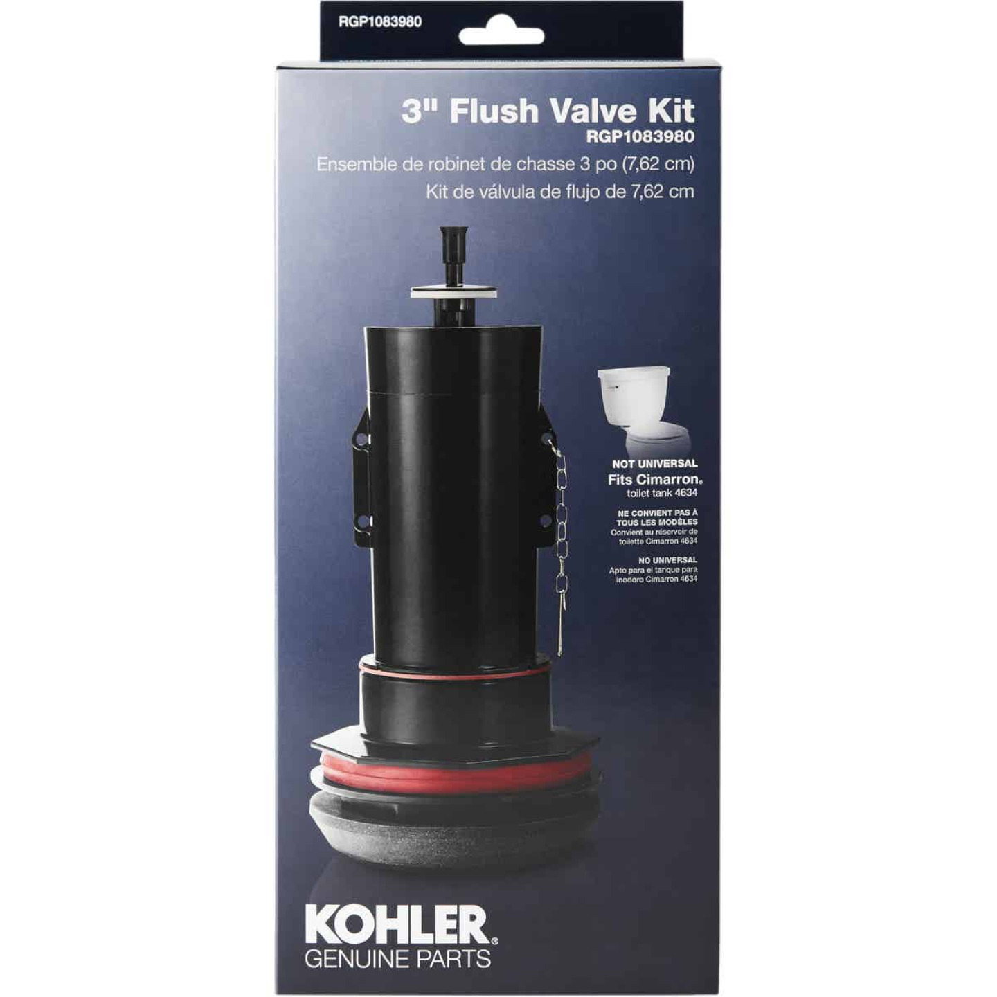 Kohler 3 In. Toilet Canister Flush Valve Repair Kit for Cimarron K-4634 Toilets Image 1