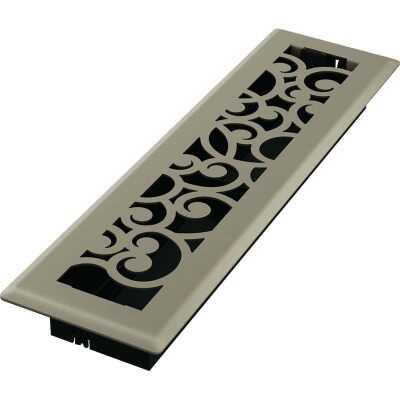 Imperial Wonderland 2-1/4 In. x 12 In. Satin Nickel Steel Floor Register