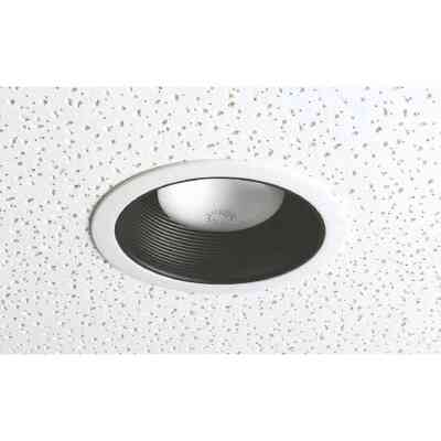 Thomas 6 In. White Trim w/Black Step Baffle Recessed Fixture Trim