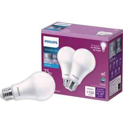 Philips 75W Equivalent Daylight A19 Medium Dimmable LED Light Bulb (2-Pack)