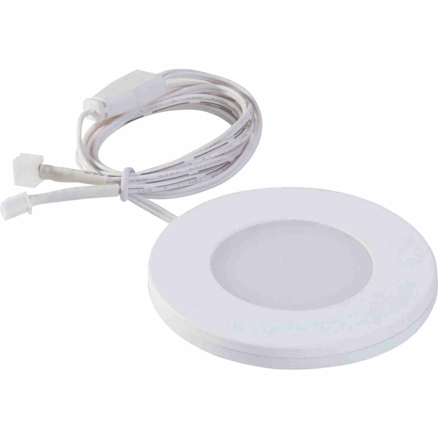 Liteline 3 In. Dia. X 1/4 In. Thick Plug-In White LED Under Cabinet Puck Light Image 3