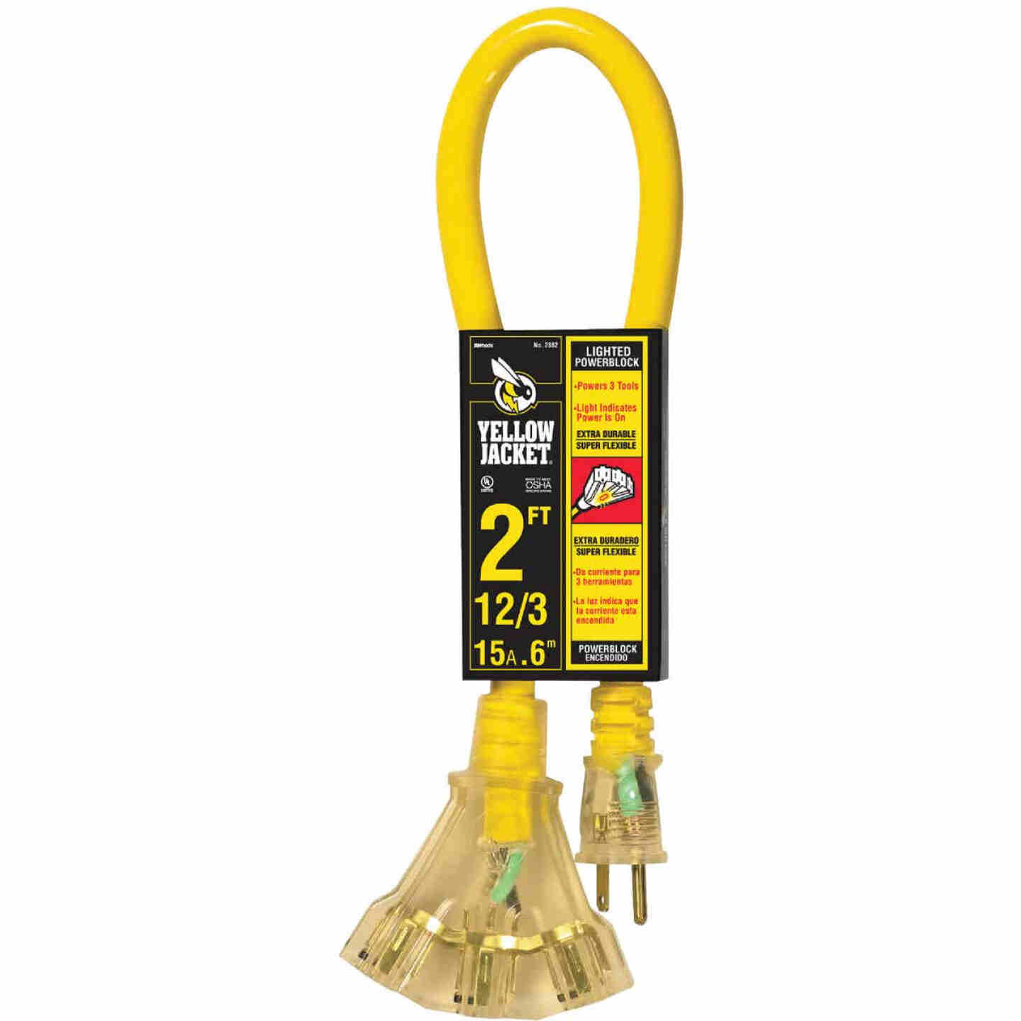 Yellow Jacket 2 Ft. 12/3 Contractor Grade Power Block Extension Cord Image 1