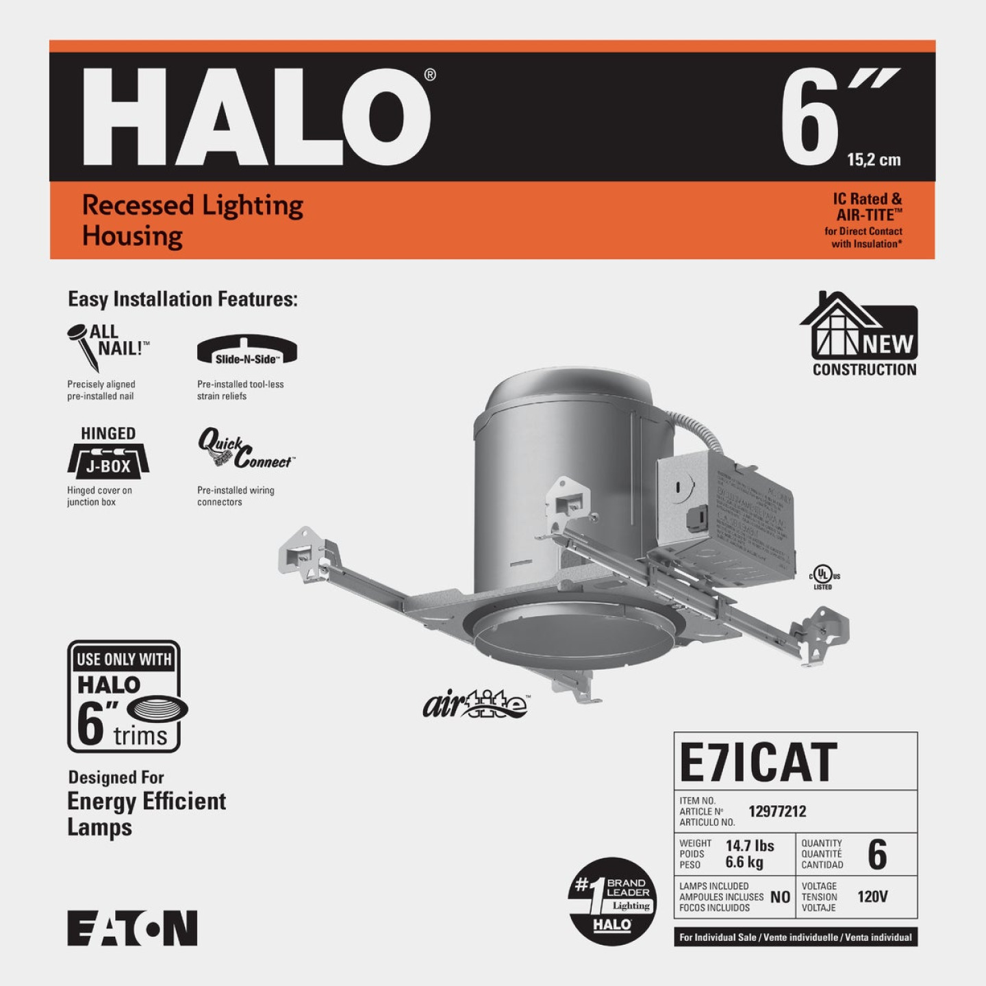 Halo Air-Tite 6 In. New Construction IC/Non-IC Rated Recessed Light Fixture Image 2