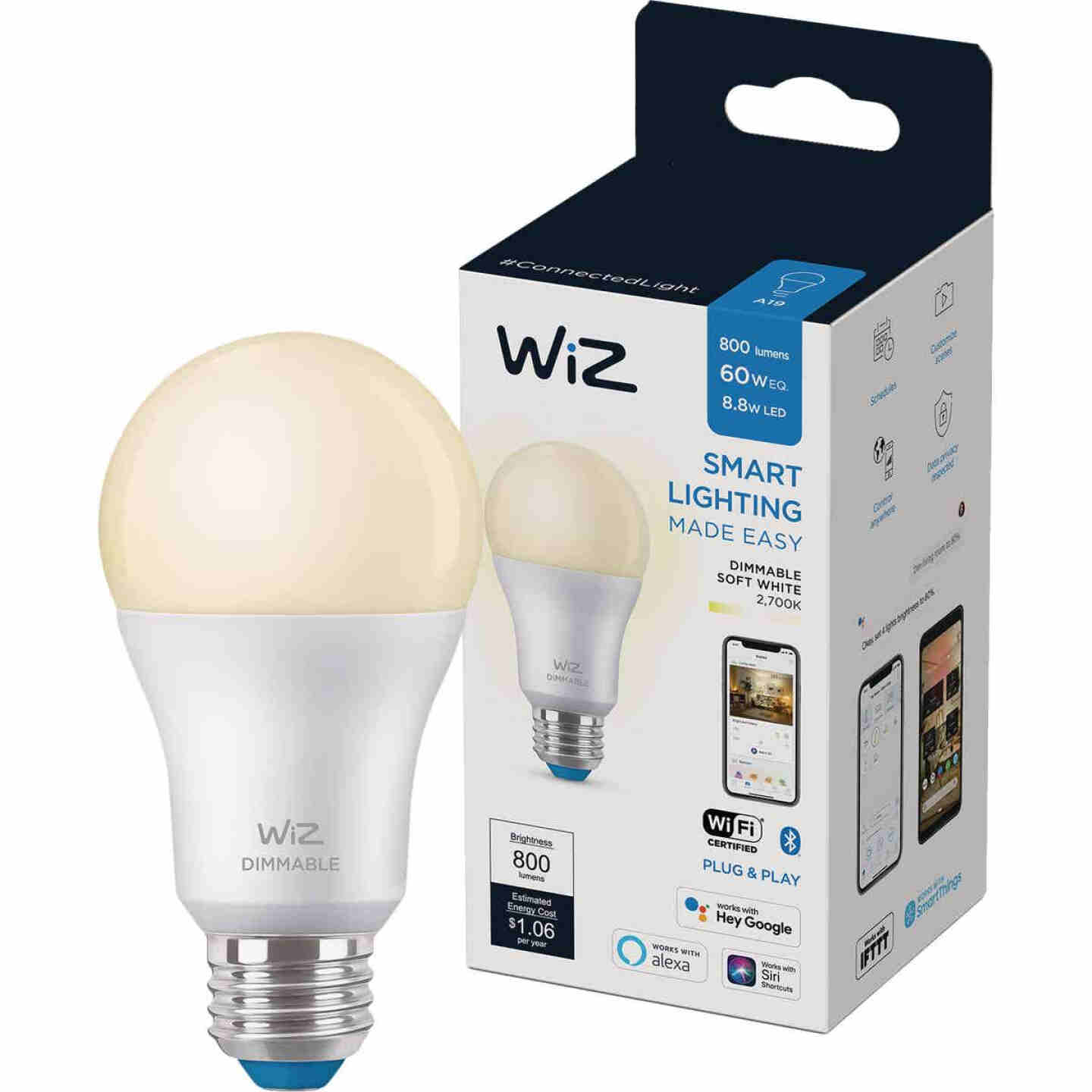 Wiz 60W Equivalent Soft White A19 Medium Dimmable Smart LED Light Bulb Image 2