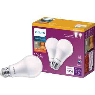 Philips 100W Equivalent Soft White A19 Medium Dimmable LED Light Bulb (2-Pack)