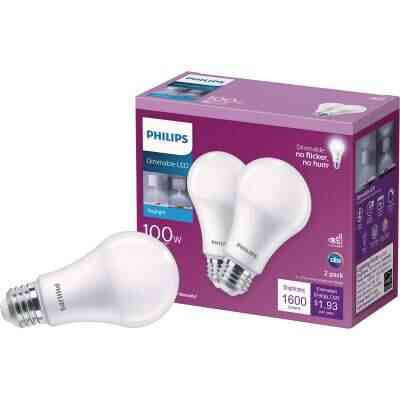 Philips 100W Equivalent Daylight A19 Medium Dimmable LED Light Bulb (2-Pack)