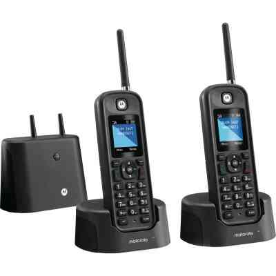 Motorola 1-Line 2-Handset Gray Long Range Cordless Phone with Answering System