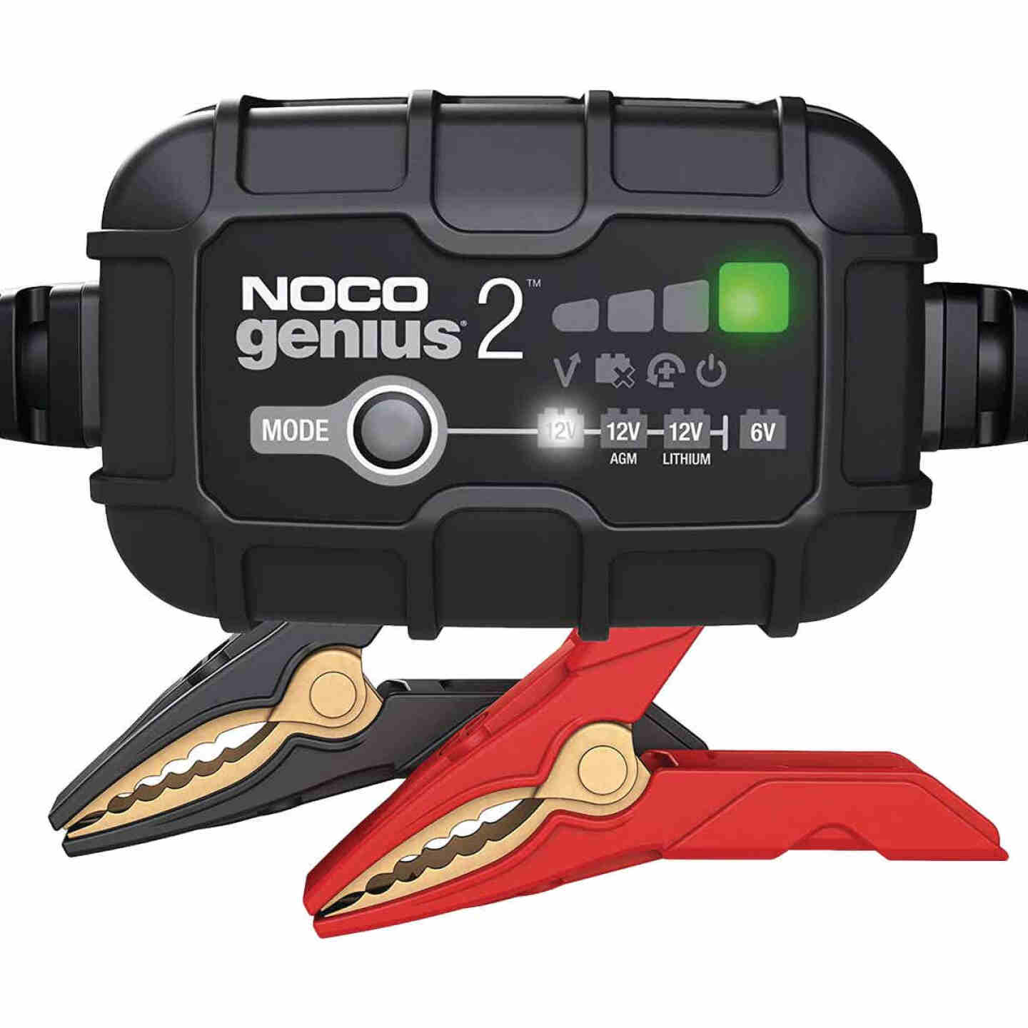 NOCO Genius 6V and 12V 2A Auto Battery Charger, Battery Maintainer, and Battery Desulfator Image 1