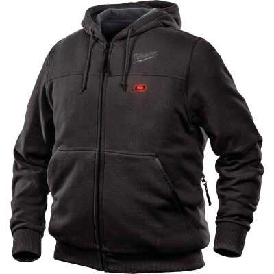 Milwaukee M12 2XL Black Men's Heated Full Zip Hooded Sweatshirt