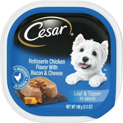 Cesar Loaf & Topper Rotisserie Chicken with Bacon & Cheese Adult Wet Dog Food, 3.5 Oz.