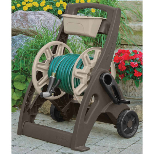 Suncast 225 Ft. x 5/8 In. Taupe & Bronze Hosemobile Resin Hose Reel with Storage Bin