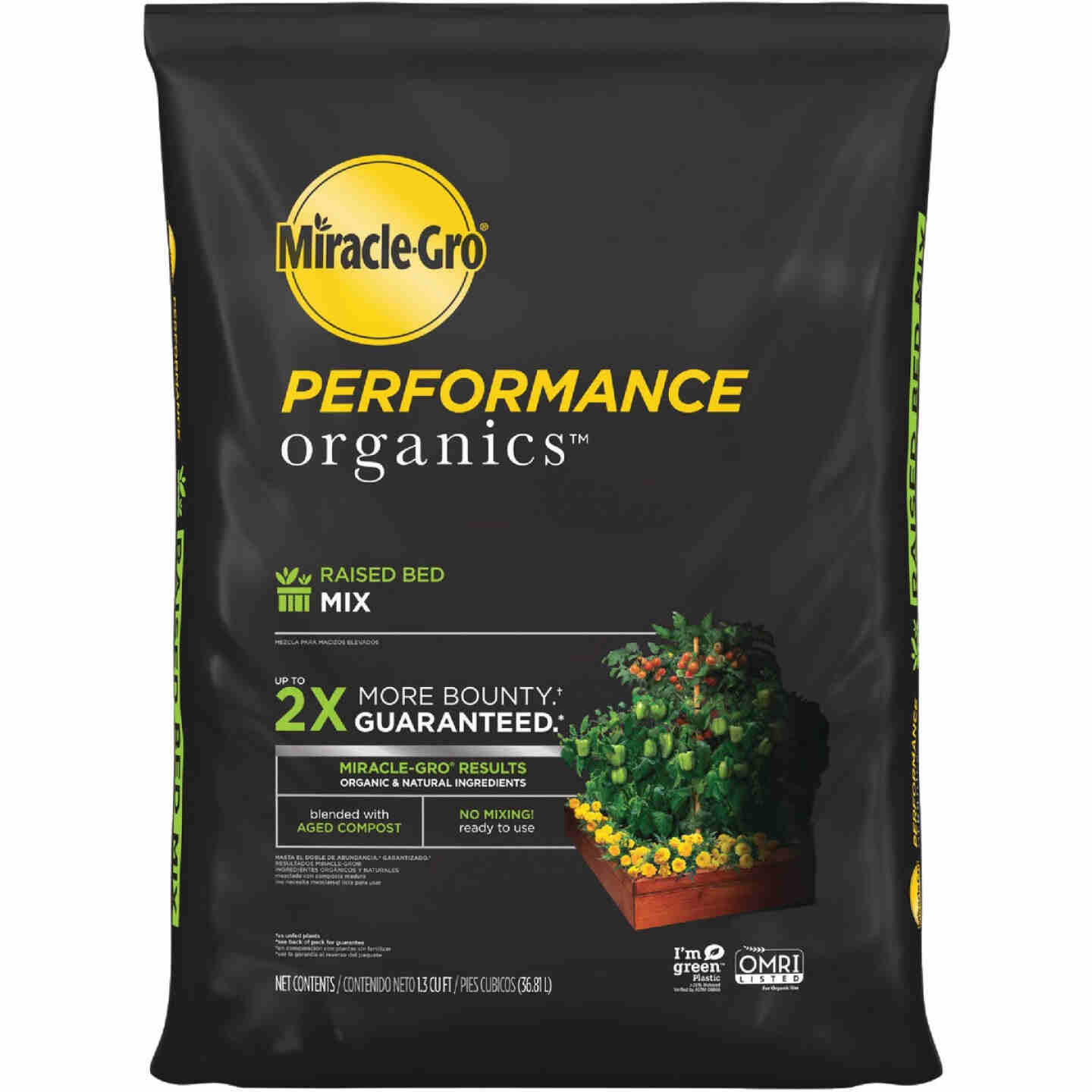 Miracle-Gro Performance Organics 1.3 Cu. Ft. 42 Lb. Raised Bed Vegetables, Fruits, Herbs Garden Soil Image 1