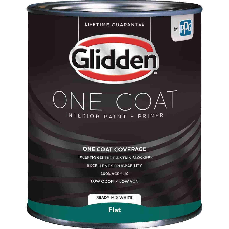 Glidden One Coat Interior Paint + Primer Flat Ready Mix White Quart Image 1